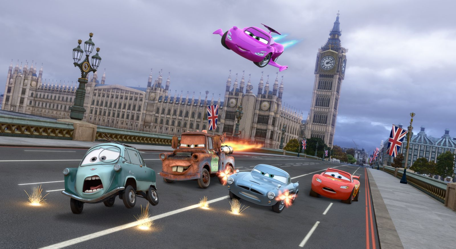 """""""CARS 2"""" (L-R) Professor Z (voice by Thomas Kretschmann), Mater (voice by Larry the Cable Guy), Holley Shiftwell (voice by Emily Mortimer), Finn McMissile (voice by Michael Caine), Lightning McQueen (voice by Owen Wilson) ©Disney/Pixar. All Rights Reserved."""