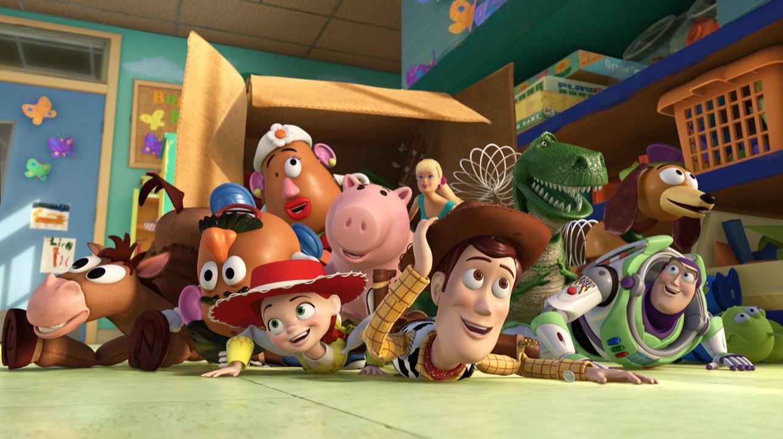 TOY STORY 3 (L-R) Bullseye, Mr. Potato Head, Mrs. Potato Head, Jessie, Hamm, Barbie, Woody, Rex, Slinky Dog, Buzz Lightyear, Aliens ©Disney/Pixar. All Rights Reserved.