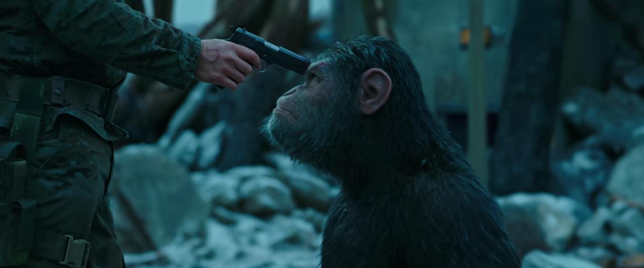 """Första trailern för """"War for the planet of the apes"""" går i iskallt blått"""