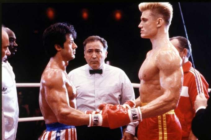 "Sylvester Stallone och Dolph Lundgren i ""Rocky IV"" (1985)."